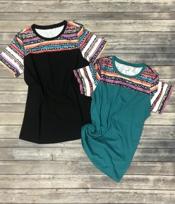A Million Little Things Short Sleeve Top In Multiple Colors With Serape Detail ~ Sizes 4-20