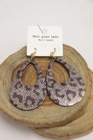 Wild West Leopard Teardrop Cutout Earrings In Gray