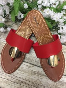 Picnic In The Park Gold Accented Sandals - Red
