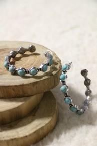 Make You Mine Turquoise Stone Silver Hoop Earrings