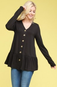 Keep it Together Button Down Top with Ruffle Hem