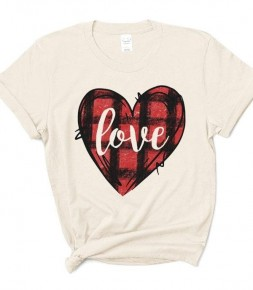 Love Buffalo Plaid Graphic Tee In Cream - Sizes 4-12