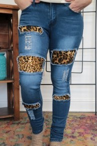 The Ainsley Dark Wash Skinny Jean with Leopard Cutouts Sizes 4-14
