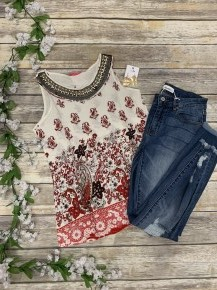 Life Is Beautiful Paisley Print Tank Top With Neck Details In Red - Sizes 4-12