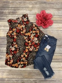 She Got The Best Of Me Leopard & Rose Tank Top - Sizes 4-10
