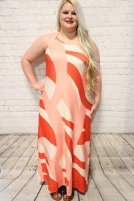 Always Yours Coral and Ivory Tie Halter Maxi Dress-Sizes 4-18