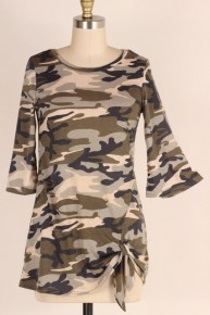 Oh The Days Camo Top With Knotted Hem - Sizes 12-20