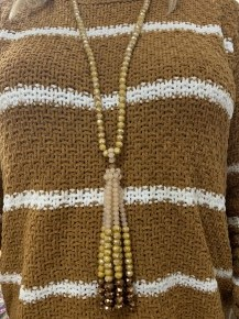 Fancy Me This Point Of Perfection Style Necklace With Tassel In Mustard