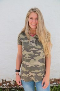 On The Go Camo Top With Pink Criss Cross Neck Sizes 4-10