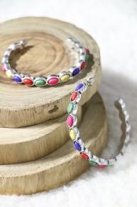 Back Again Multi-Color Stone Hoop Earring