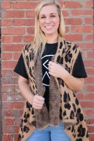 This Is The Life Leopard Vest In Tan- One Size