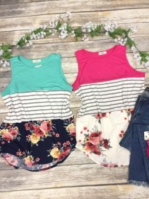 Discover Yourself Floral & Striped Colorblock Tank Top in Multiple Colors - Sizes 4-10