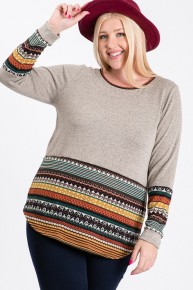 Deseret Dreams Mocha Bodied Top with Brown Accent Bottom and Sleeves- Sizes- 12-20