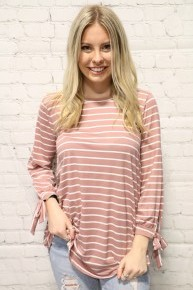 Always Remember You Mauve Striped Top With Tie Sleeve- Sizes 4-12