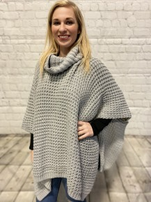 How Did We Get Here Cowl Neck Crochet Poncho In Gray - One Size
