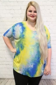 Might Not Mean Much Tie Dye Top With Lace Accent In Blue & Yellow- Sizes 12-20