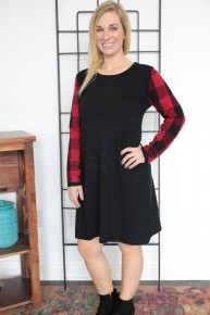 Hold On Black Dress with Red Buffalo Plaid Accent Sleeve Sizes 4-20