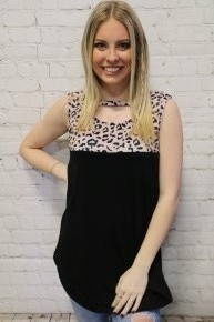 You're The One Leopard Color Block Top With Neck Cutout- Sizes 4-18