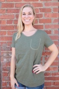 A Little Bit Of Something Basic Top With Yellow Stitching In Olive - Sizes 4-10