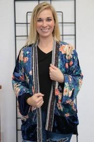 Speak Softly Floral Velvet Cardigan In Navy - Sizes 4-20