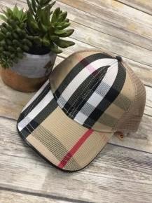 Plaid Mesh Back Hat In Cream