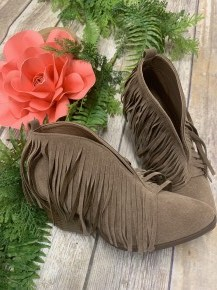 Something About You Fringe Booties In Taupe