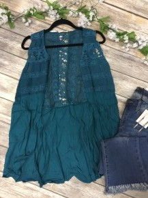Set You Free Crochet Vest In Teal Sizes 4-20