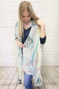 My Greatest Adventure Feathered Kimono with Raw Hem in Multiple Colors - One Size Fits Most