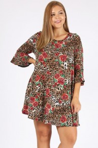 I'm Alive In You Roses & Leopard Print Dress/Tunic With Ruffle Sleeve - Sizes 12-20
