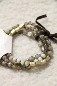 Calm Days Crystal Beads, Natural Stone Beads and Leather Stretch Bracelet In Multiple Colors