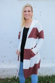 Perfect Places Rust Striped Hooded Cardigan