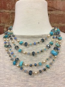 Fearfully and Wonderfully Made Beaded and Stone Three Tiered Necklace- Multiple Colors