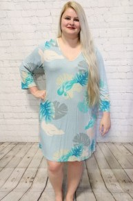 Going On Vacation Blue Tropical Leaf Dress- Sizes- 12-20