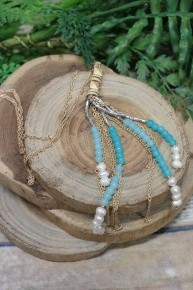 Nice To See You Tassel Necklace In Sky Blue