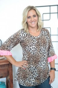 Leopard and Pink Scoop Neck Ruffle Sleeve Top- Sizes 4-10
