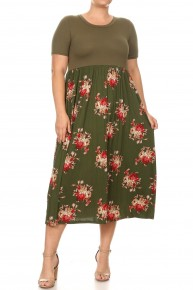Lift My Hands & Pray Floral Color Block Long Dress In Olive - Sizes 12-20