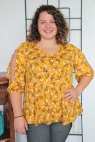 Be Fierce Mustard Yellow Top with Floral Print and Bubble Split Sleeve Sizes 12-20