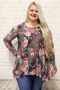 I'm Yours Plum Floral Tunic with Ruffled High-Low Hem-Sizes-12-20