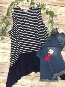 Southern Scuffle Striped Tank Tunic in Navy - Sizes 4-20