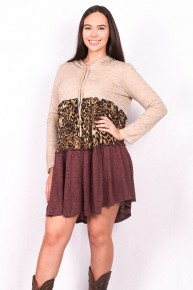 Saving All My Love Leopard Colorblock Dress - Sizes 4-20