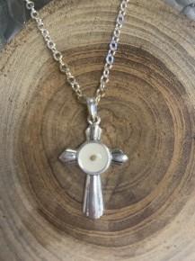 Matthew 17:20 Mustard Seed Cross Necklace In Silver