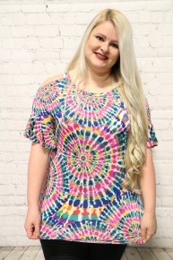 Most Fabulous Colorful Tie Dye Top with Cold Shoulders - Sizes 12-20
