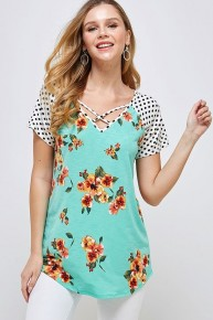 Classic Combo Floral & Polka Dot Raglan in Mint - Sizes 4-20