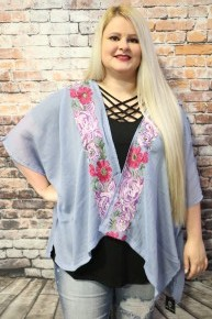Floral Cold Shoulder Kimono in Blue - One Size Fits Most
