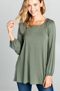 Ferociously Yours Solid Long Sleeve Top With Shoulder & Wrist Detail - Multiple Colors - Sizes 4-20
