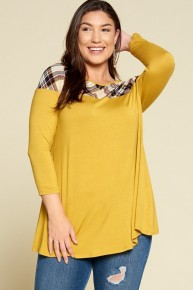 Trust In Yourself Plaid Contrast Tunic- Multiple Colors - Sizes 12-20