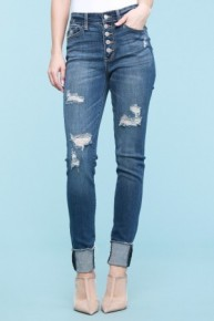 The Emery Judy Blue Button Fly Skinny Jeans in Medium Denim ~ Sizes 3-24W