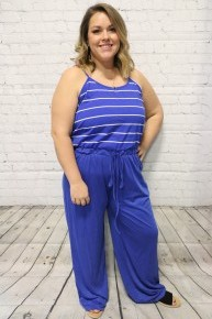 Dressed To Impress Royal Blue Striped Jumpsuit - Sizes 4-18