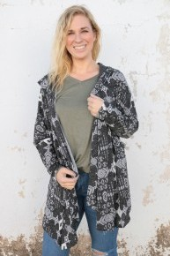 Appreciate What You've Got Aztec Print Cardigan With Hood In Charcoal - Sizes 4-10