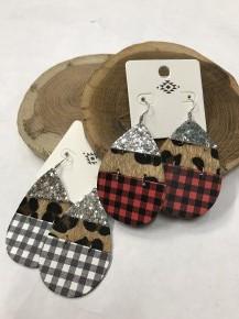 Sparkle & Plaid Buffalo Check Leopard Mix Teardrop Earrings - Multiple Colors